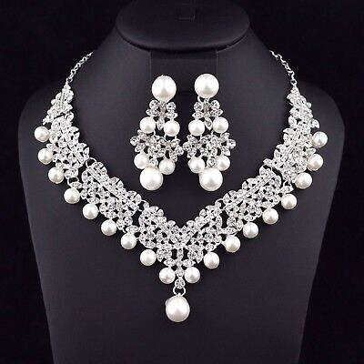 Clovers Pearl Austrian Rhinestone Necklace Earrings Set Wedding Bridal Prom N25