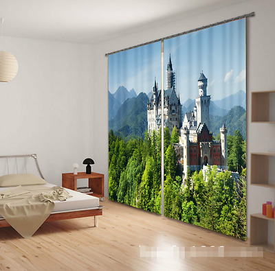 3D Castle Tree 1Blockout Photo Curtain Printing Curtains Drapes Fabric Window CA