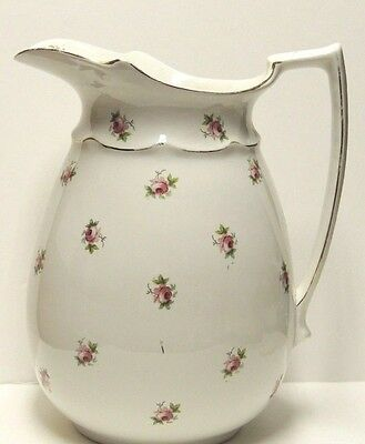 Antique White Pitcher w/ Little Pink Roses Flowers - Bristol - P & Co England
