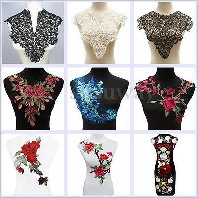 Lace Rose Flower Patch Motif Collar Sew Applique Badge Embroidered Clothes Dress