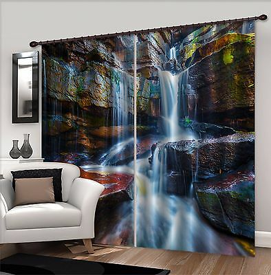 3D Stone Fall 43Blockout Photo Curtain Printing Curtains Drapes Fabric Window CA