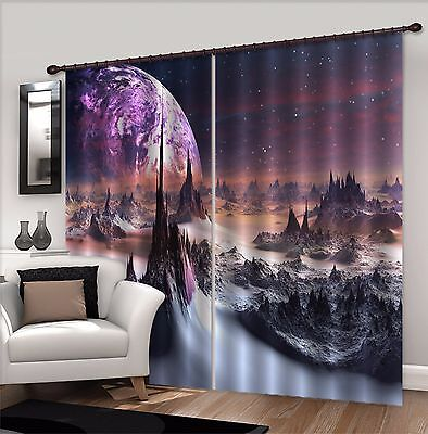 3D Planet Star 2Blockout Photo Curtain Printing Curtains Drapes Fabric Window CA