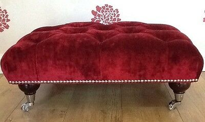 A Quality Deep Buttoned Footstool In Laura Ashley Caitlyn Cranberry Fabric