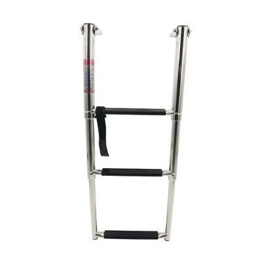 3 Step Stainless Steel Marine Boat Ladder Upper Platform Telescoping