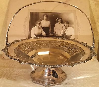 Antique Victorian Sheffield Silver Afternoon Tea Cake Fruit Pedestal Bowl Plate