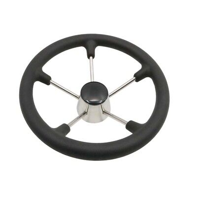 Stainless Steel 5 spoke Boat Marine Steering Wheel With Black PU Foam 13.5""