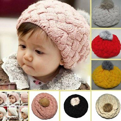 Cute Baby Kids Girls Toddler Winter Warm Knitted Crochet Beanie Hat Beret Cap