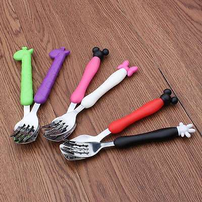 Lovely Cute Silicone & Stainless Steel Spoon or Fork Kids Training Utensils