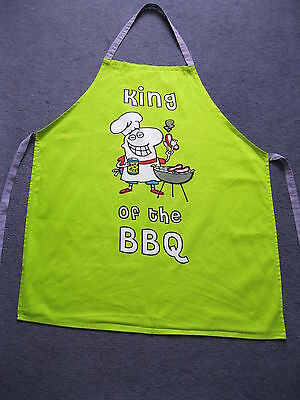 King of the BBQ green 100% cotton, full apron, pinny, garden cooking novelty