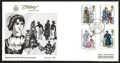 Abbey Limited Edition FDC 1975 JANE AUSTEN COVER WITH EDINBURGH POSTMARK