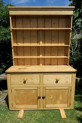 Solid Antique Pine Shabby Chic Welsh Dresser Vintage Farmhouse Kitchen Cupboard