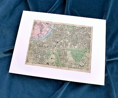 LONDON, 1900 - WANDSWORTH, BATTERSEA, CLAPHAM   - Mounted Antique Map, Bacon.