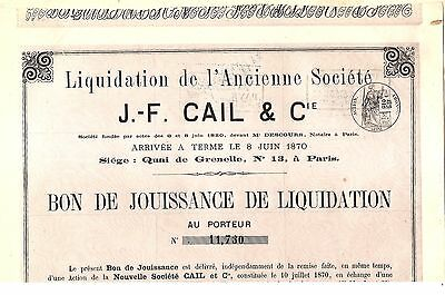 J F CAIL & Co OLD UNCANCELED FRENCH CERTIFICATE of LIQUIDATION dated 1872