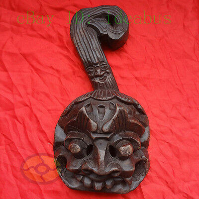 Chinese Folk Art Wood Hand Carved NUO MASK Walldecor Spoon Art - Kitchen Deity