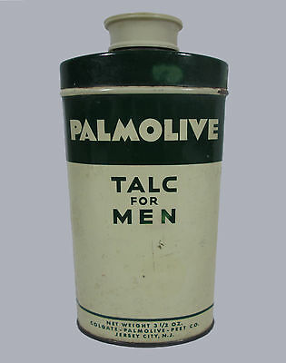 Vintage Colgate Palmolive Talc for Men Tin with Lid 3 1/2 Oz Some Powder Left