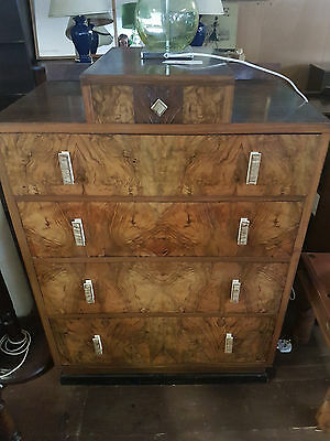 vintage burr walnut chest of drawers