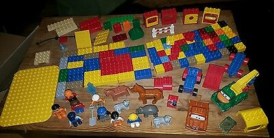 Mixed bundle of Lego Duplo - bricks, animals, people, vehicles - 137 pieces