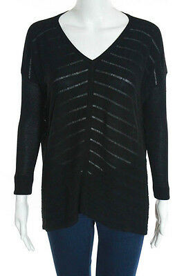 Eileen Fisher Black Striped Open Knit V-Neck Long Sleeve Sweater Size XS
