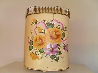 Vintage Tole Garbage Can Waste Basket Hand Painted Roses With Feet