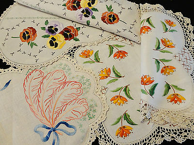 Seven Vintage Hand Embroidered Doilies
