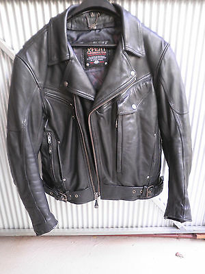 Mens Xpert black leather motorcycle jacket Size L