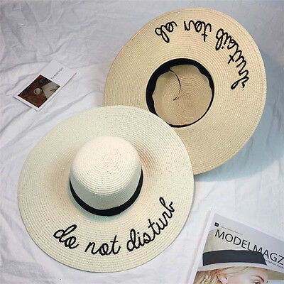 Women Wide Brim Foldable Sun Hats Large Straw Summer Holiday Beach Cap New