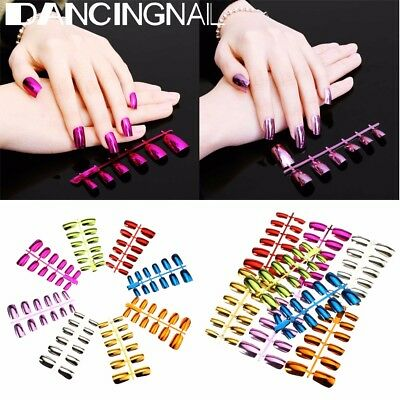 24Pcs Super Lady Metallic Shiny False Full French Nail Art Tips Acrylic Manicure