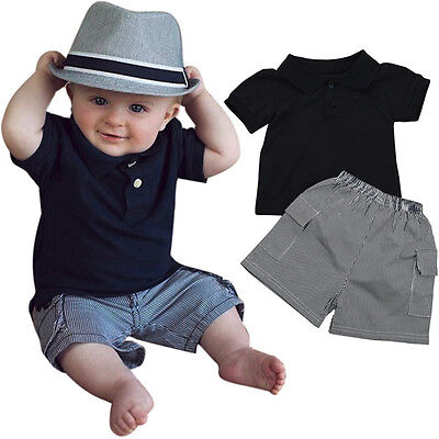 2PCS Toddler Kids Baby Boy Handsome Outfit Clothes T-Shirt Tops+Shorts Pants Set