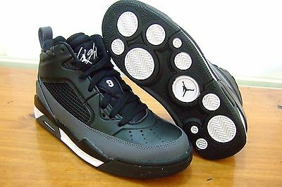 Original Junior Boys Nike Jordan Flight 9.5 Bg Black Leather Basketball Trainers