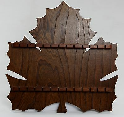 Wooden 24 Slot Souvenier Collector Spoon Display Rack Canadian Maple Leaf