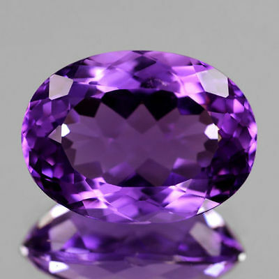 14x10mm OVAL-FACET DEEP-PURPLE NATURAL URUGUAYAN AMETHYST GEMSTONE (APP £267)