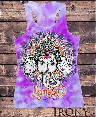 SUB802C Womens Vest Top,Ganesh Elephant God Line Art Namaste Zen India Print