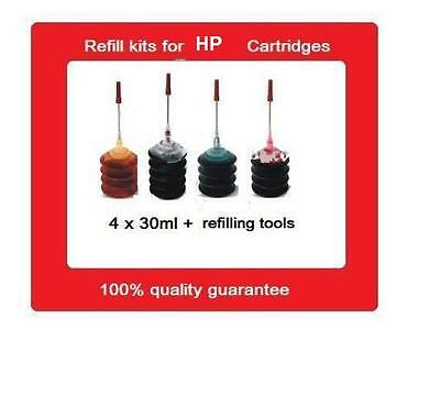A Set Of refill kits for HP 65XL Black + HP65XL Colour ink cartridges