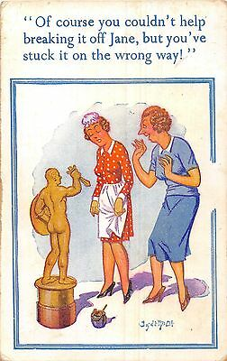 POSTCARD  COMIC  DONALD  McGILL   Statue  Cleaner  Breaking it off
