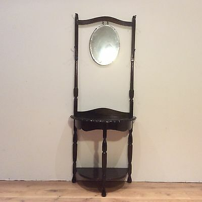 Antique Oak Hall Stand with Pie Crust and Hanging Mirror. Circa 1920.