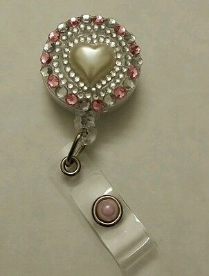 3D Bling Heart Retractable Reel ID Badge Card Name Tag Holder