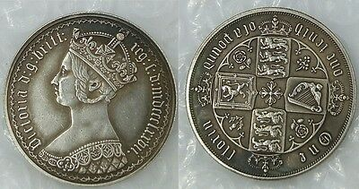 1877 Victoria Gothic 1 Florin (2 Shillings) MDCCCLXXVII SILVER PLATED -COPY COIN