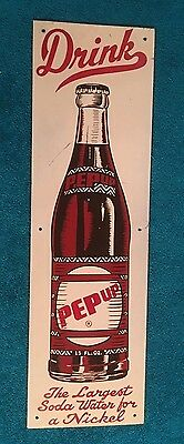 1940s DRINK PEP UP ADVERTISING SIGN THE LARGEST SODA WATER FOR A NICKEL