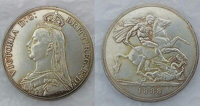 1888 Queen Victoria One 1 CROWN SILVER PLATED 2nd Portrait UK - COPY COIN