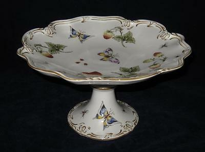 Coalport STRAWBERRY Strawberries Butterfly Scalloped Pedestal Cake Plate 9 1/2""