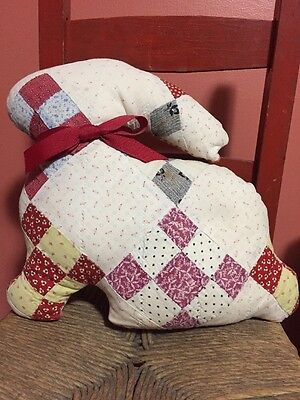 Sweet Antique Quilt Bunny Pillow with Red Bow. Super Soft. Probably 100% Cotton.