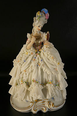 Antique Dresden Porcelain Figurine Woman With Mirror on Hand.