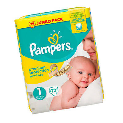 Pampers Premium Protection New Baby Nappies Navel Friendly Shape Size1 Pack - 72