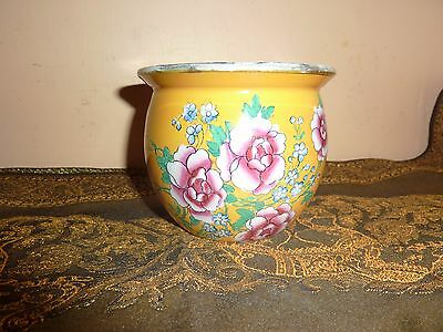 Cetem Ware/mailing Yellow 8.1Cm Vase/tooth Holder/flower Pot With Flower Decorat