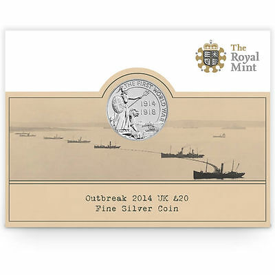 New 2014 UK Great Britain Silver Outbreak of 1st World War £20 Fine Silver Coin