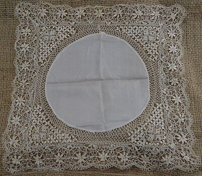 ANTIQUE ivory silk handkerchief with Maltese lace edge wedding late 19th century