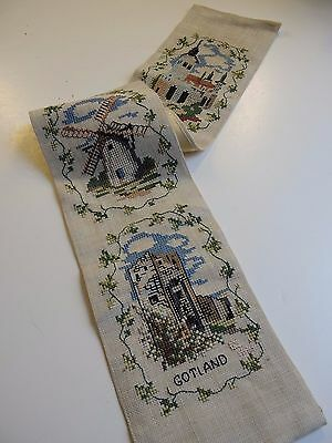 Swedish vintage 1970s long wallhanging embroidered tapestry, scenes from Gotland