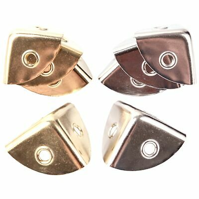 4 x NICKEL/BRASS 28mm CASE CORNERS Chest/Trunk/Box Repair Strengthen Protect