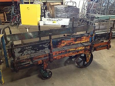 Vintage Industrial Nutting Foundry Cart Iron Wheels Model 1466