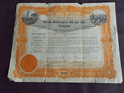 1920 UNITED McKeesport Oil and Gas company 1share $100 march 1920
